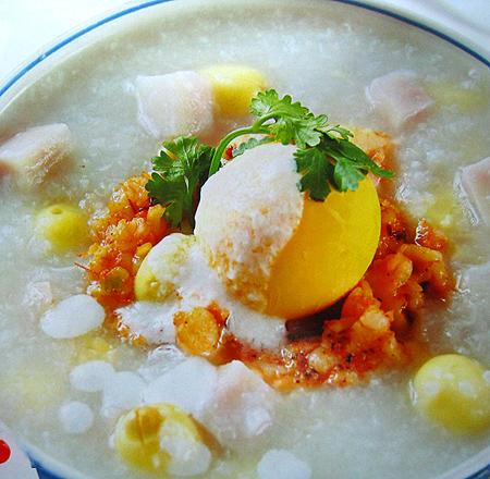 Cháo trứng bạch quả
