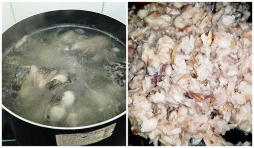 Luộc cá gỡ lấy thịt cá