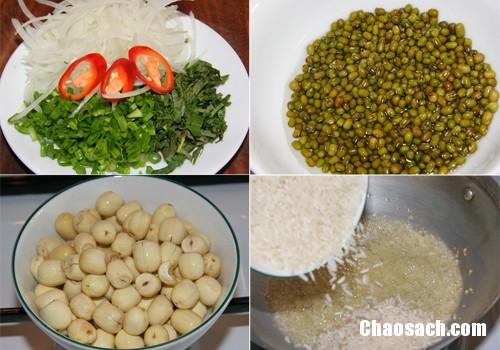 Cháo gà đậu xanh và hạt sen ngon bổ dưỡng cho cả nhà thưởng thức