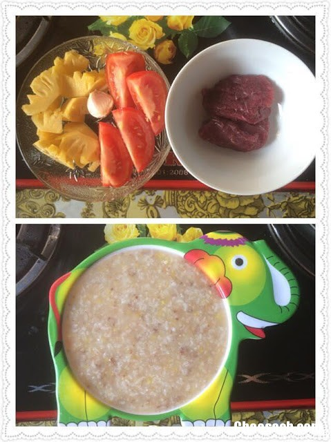 Cháo thịt bò xào chua ngọt cho bé trên 6 tháng tuổi