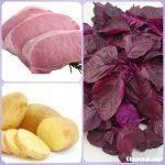 Cháo thịt heo nấu với khoai tây và rau dền đỏ cho bé ăn dặm