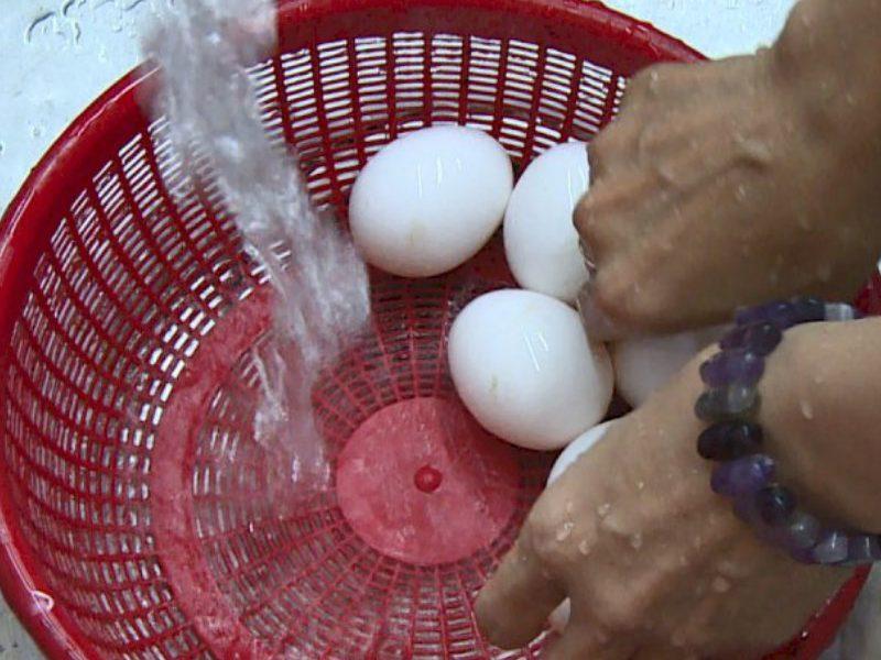 Rửa sạch trứng vịt lộn