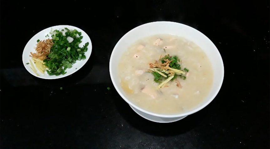 Món cháo cá hồi đậu xanh bồi bổ sức khỏe cho cả nhà