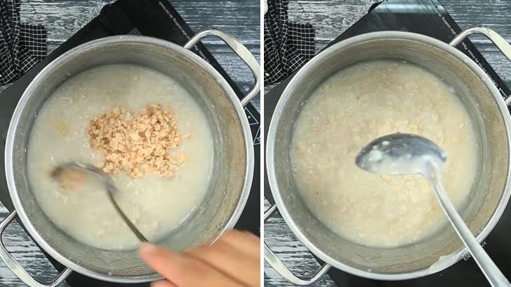 Cho các nguyên liệu vào cháo rồi nêm nếm lại gia vị